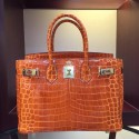 Wholesale Hermes Birkin 30cm 35cm Bag In Orange Crocodile Leather HJ01058