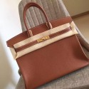 Wholesale Hermes Gold Clemence Birkin 35cm Handmade Bag HJ01162