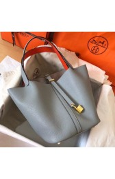 1:1 Hermes Bicolor Picotin Lock MM 22cm Blue Lin Bag HJ00146