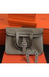 1:1 Hermes Halzan Bag In Grey Clemence Leather HJ00528