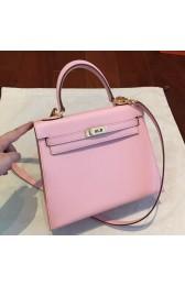 1:1 Hermes Pink Epsom Kelly 25cm Sellier Handmade Bag HJ01010