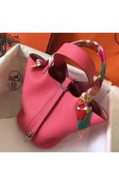 1:1 Hermes Rose Lipstick Picotin Lock PM 18cm Handmade Bag HJ00309