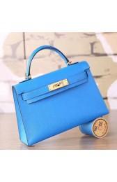 AAA Hermes Blue Hydra Chevre Kelly Mini II 20cm Handmade Bag HJ01041