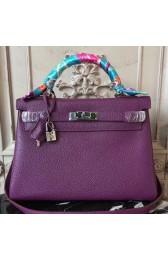 AAA Hermes Purple Clemence Kelly 28cm Bag HJ00819
