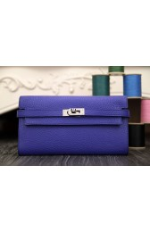 AAA Replica Top Fake Hermes Kelly Longue Wallet In Electric Blue Clemence Leather HJ01084