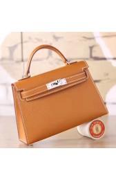 Best Cheap Hermes Brown Epsom Kelly Mini II 20cm Handmade Bag HJ00860