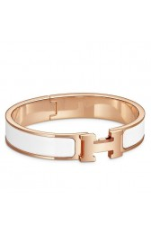 Best Hermes White Enamel Clic H PM Bracelet HJ00105