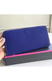 Best Imitation Hermes Blue Electric Clemence Azap Zipped Wallet HJ00484