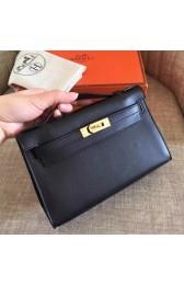 Best Luxury Hermes Black Swift Kelly Pochette Handmade Bag HJ00423