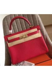 Best Quality Best Quality Hermes Red Clemence Kelly Retourne 28cm Handmade Bag HJ00006