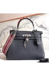 Cheap Copy Hermes Black Kelly 28cm Bag With Zigzag Handle HJ00194