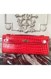 Cheap Fake Hermes Cherry Crocodile Kelly Cut Clutch Bag HJ00626
