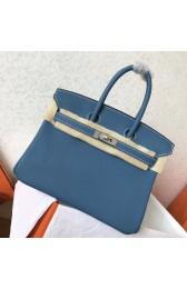 Cheap Hermes Blue Jean Clemence Birkin 25cm Handmade Bag HJ00746