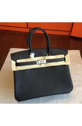 Cheap Knockoff Hermes Black Clemence Birkin 25cm Handmade Bag HJ01033
