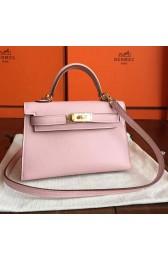 Cheap Replica Hermes Rose Dragee Swift Kelly Mini II 20cm Handmade Bag HJ00084