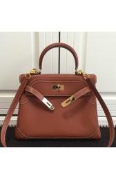 Copy Designer Hermes Kelly Ghillies 28cm In Brown Swift Leather HJ01303