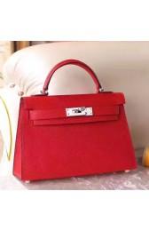 Copy Fashion Replica Hot Hermes Red Epsom Kelly Mini II 20cm Handmade Bag HJ00097