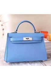 Copy Faux Hermes Celeste Epsom Kelly Mini II 20cm Handmade Bag HJ01351