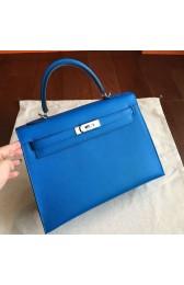 Copy High End Hermes Blue Epsom Kelly 32cm Sellier Handmade Bag HJ00261
