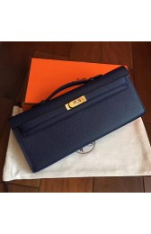 Copy Luxury Imitation Hermes Sapphire Epsom Kelly Cut Clutch Handmade Bag HJ00379