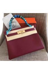 Copy Replica Hermes Ruby Clemence Kelly Retourne 28cm Handmade Bag HJ00685