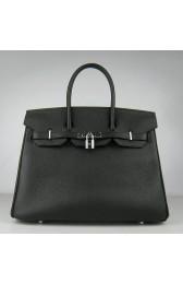 Designer Hermes Birkin 30cm 35cm Bag In Black Togo Leather HJ01076