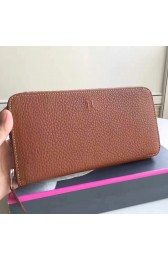 Designer Hermes Brown Clemence Azap Zipped Wallet HJ00414