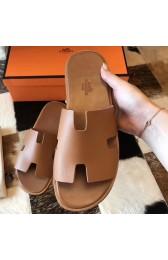 Designer Knockoff Hermes Izmir Sandals In Brown Epsom Leather HJ00584