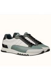Fake 1:1 Replica Hot Hermes Trail Sneaker In White/Blue Calfskin HJ00883