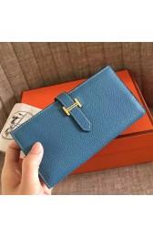 Fake Hermes Blue Jean Clemence Bearn Gusset Wallet HJ00853