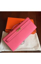 Fake High Quality Knockoff Hermes Rose Lipstick Epsom Kelly Cut Clutch Handmade Bag HJ00069