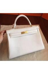 Fake Luxury Hermes White Clemence Kelly Retourne 32cm Handmade Bag HJ00393