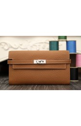 Fake Replica High Quality Hermes Kelly Longue Wallet In Brown Clemence Leather HJ00491