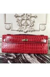 Fashion Hermes Red Crocodile Kelly Cut Clutch Bag HJ01153