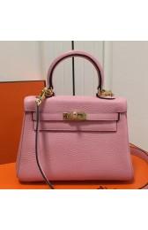 Faux AAA Hermes Pink Clemence Kelly 20cm GHW Bag HJ00904