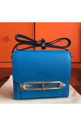 Faux Hermes Mini Sac Roulis Bag In Blue Hydra Swift Leather HJ00682