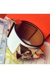 Faux Hermes White Epsom Collier De Chien Bracelet Size S HJ01327