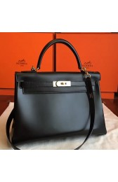 Faux Perfect Hermes Black Box Kelly Retourne 32cm Handmade Bag HJ01066