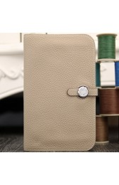 First-class Quality Hermes Dogon Combine Wallet In Grey Leather HJ00267