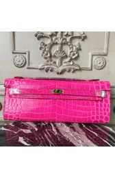 First-class Quality Hermes Rose Red Crocodile Kelly Cut Clutch Bag HJ00765