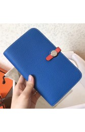 Hermes Bicolor Dogon Duo Wallet In Blue/Piment Leather Replica HJ00848