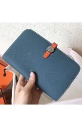 Hermes Bicolor Dogon Duo Wallet In Jean/Orange Leather HJ00708