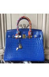 Hermes Birkin 30cm 35cm Bag In Blue Electric Crocodile Leather HJ01350