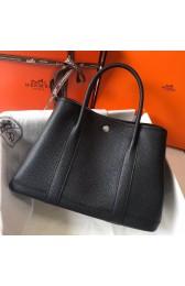 Hermes Black Clemence Garden Party 30cm Handmade Bag HJ00360
