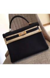 Hermes Black Clemence Kelly Retourne 32cm Handmade Bag HJ00388