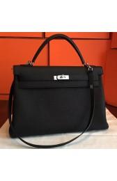 Hermes Black Clemence Kelly Retourne 40cm Handmade Bag HJ00351