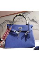 Hermes Blue Kelly 28cm Bag With Zigzag Handle HJ01261