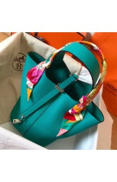 Hermes Blue Paon Picotin Lock MM 22cm Handmade Bag HJ01130