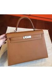 Hermes Brown Epsom Kelly 32cm Sellier Handmade Bag Replica HJ00431