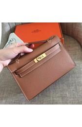 Hermes Gold Epsom Kelly Pochette Handmade Bag HJ01331